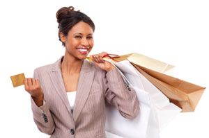 Lady shopping with a Visa credit card
